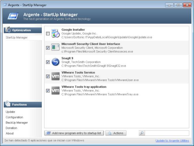Argente - StartUp Manager Portable