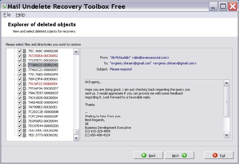 Mail Undelete Recovery Toolbox Free