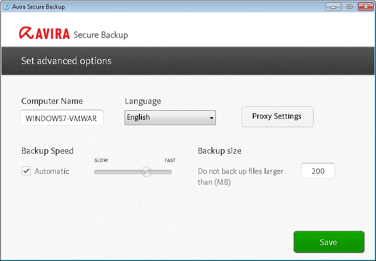 Avira Secure Backup