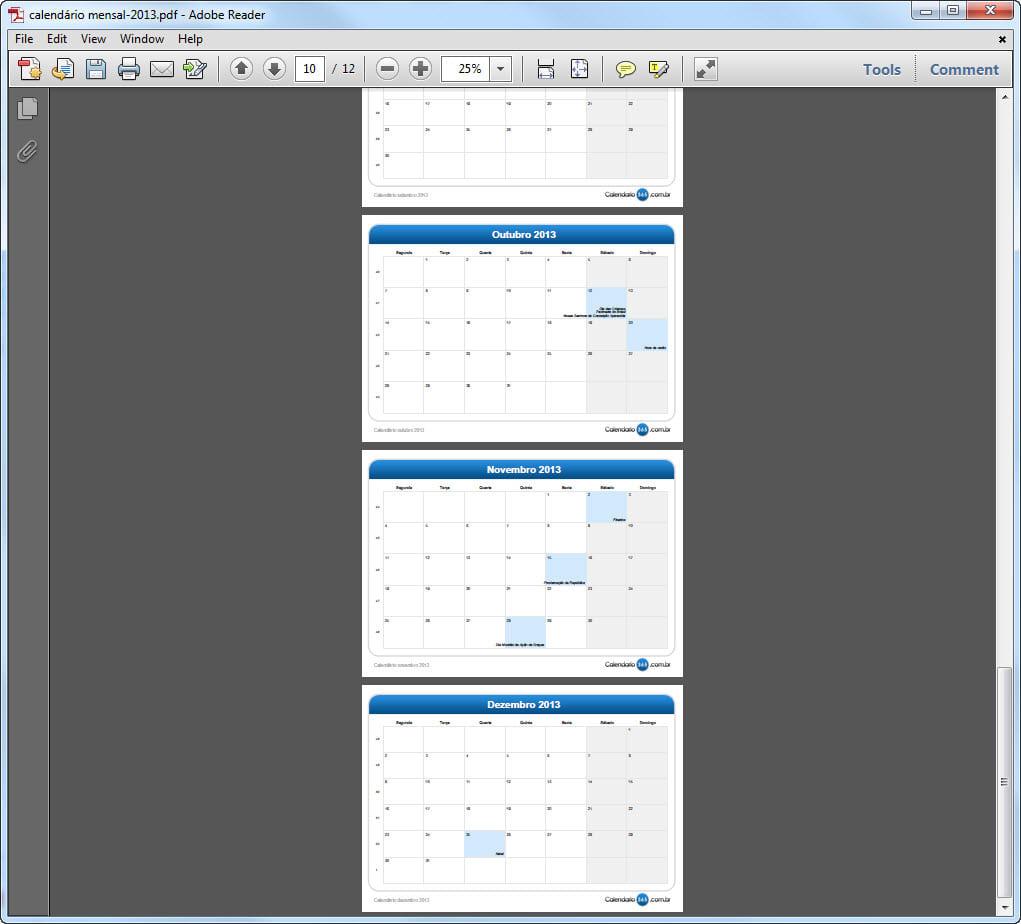 Calendário 2013 Mensal