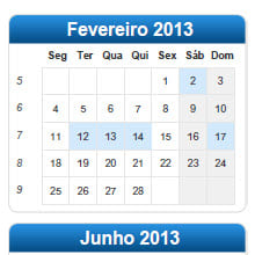 Calendário 2013 Anual