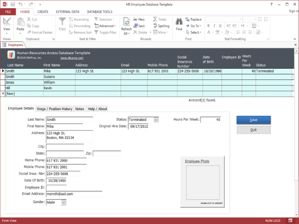 hr employee ms access database template download