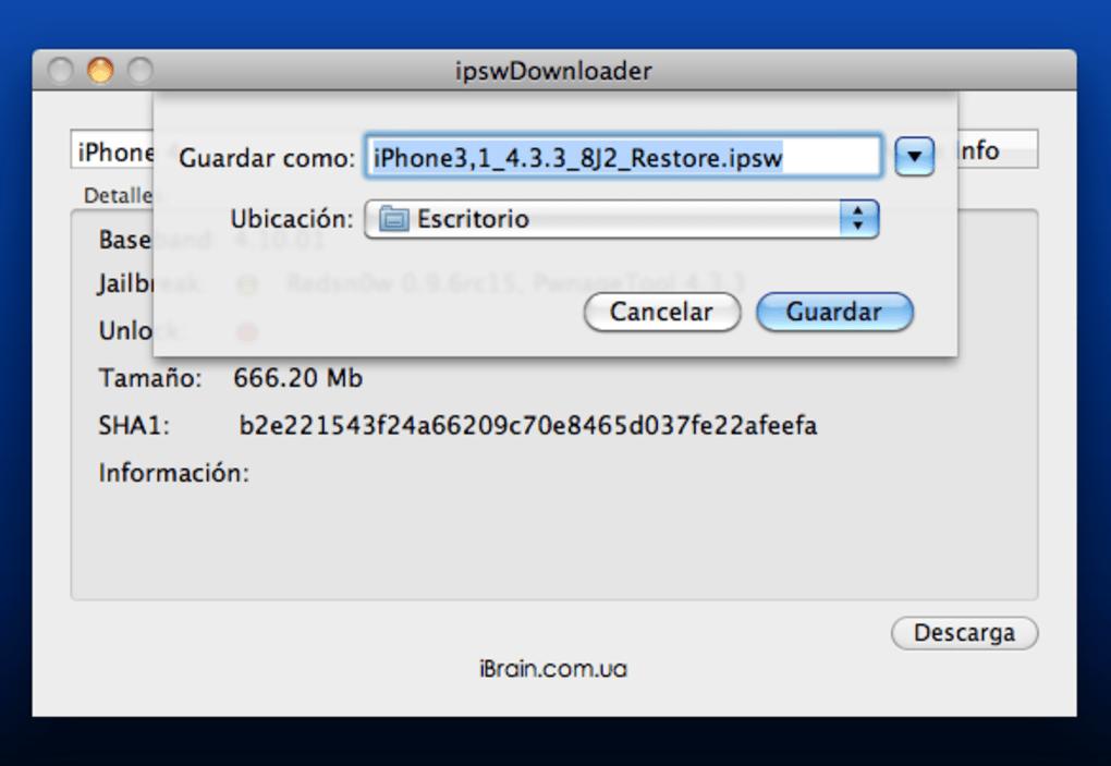 Ipswdownloader for mac downloads ipsw firmware files.