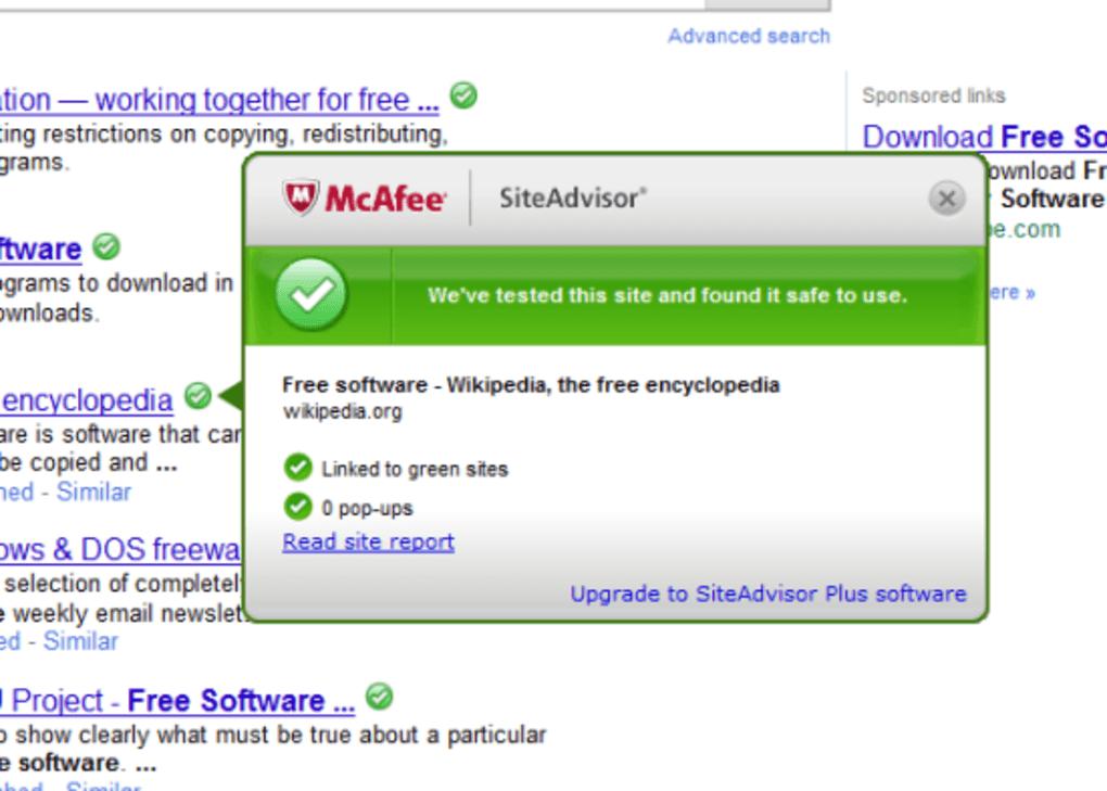 Mcafee siteadvisor software download | freeallsoftwares. Com.