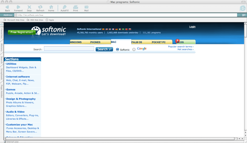 Screenshots of Internet Explorer 5