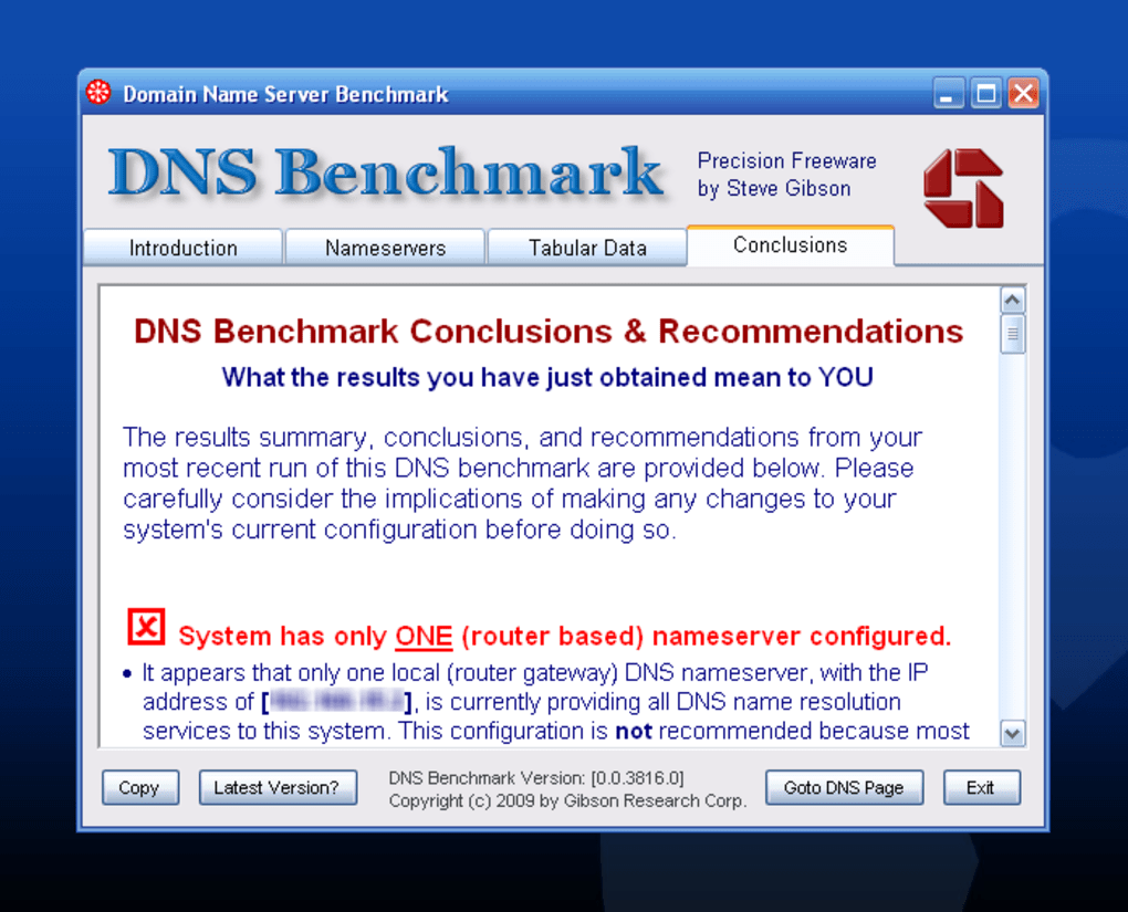 dns benchmark by gibson research corp