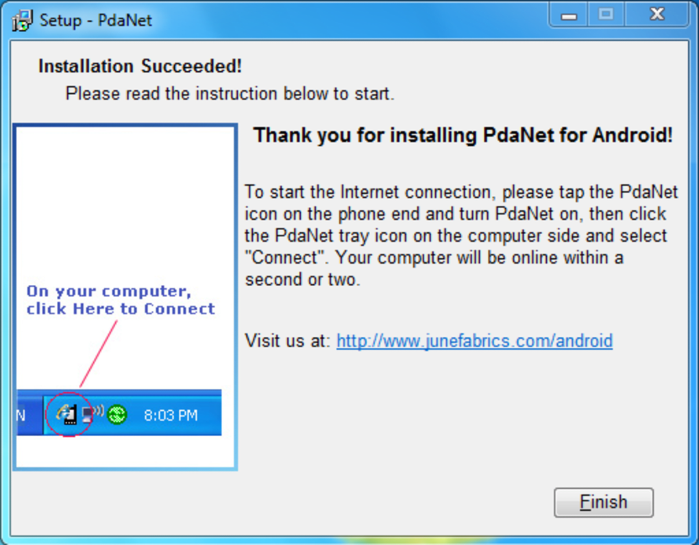 Download pdanet for your pc.