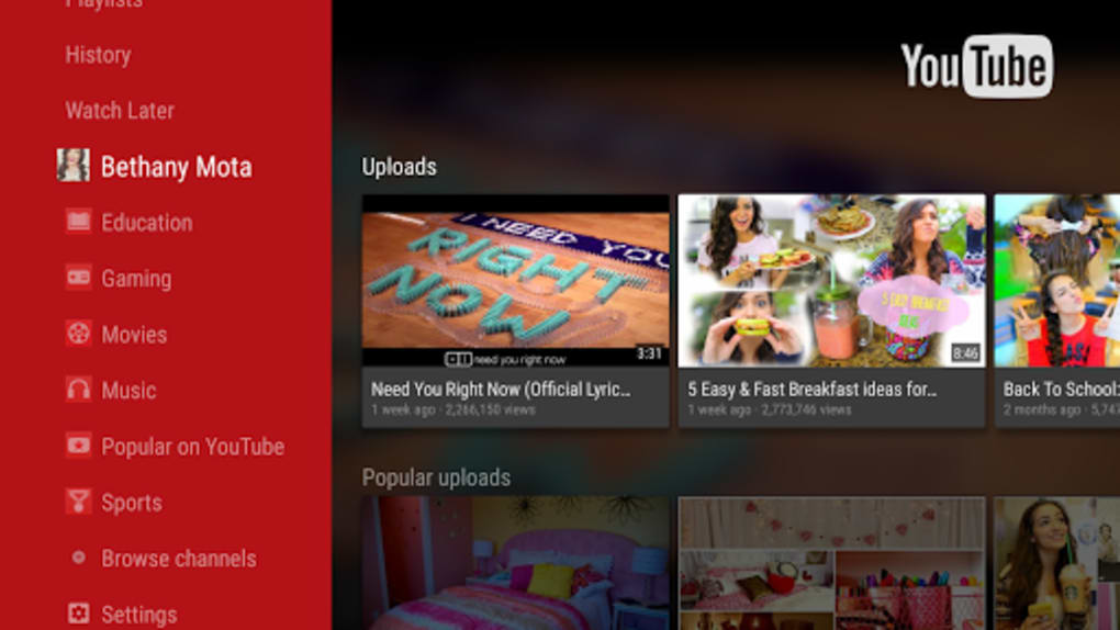 YouTube for Android TV (Android) - Download