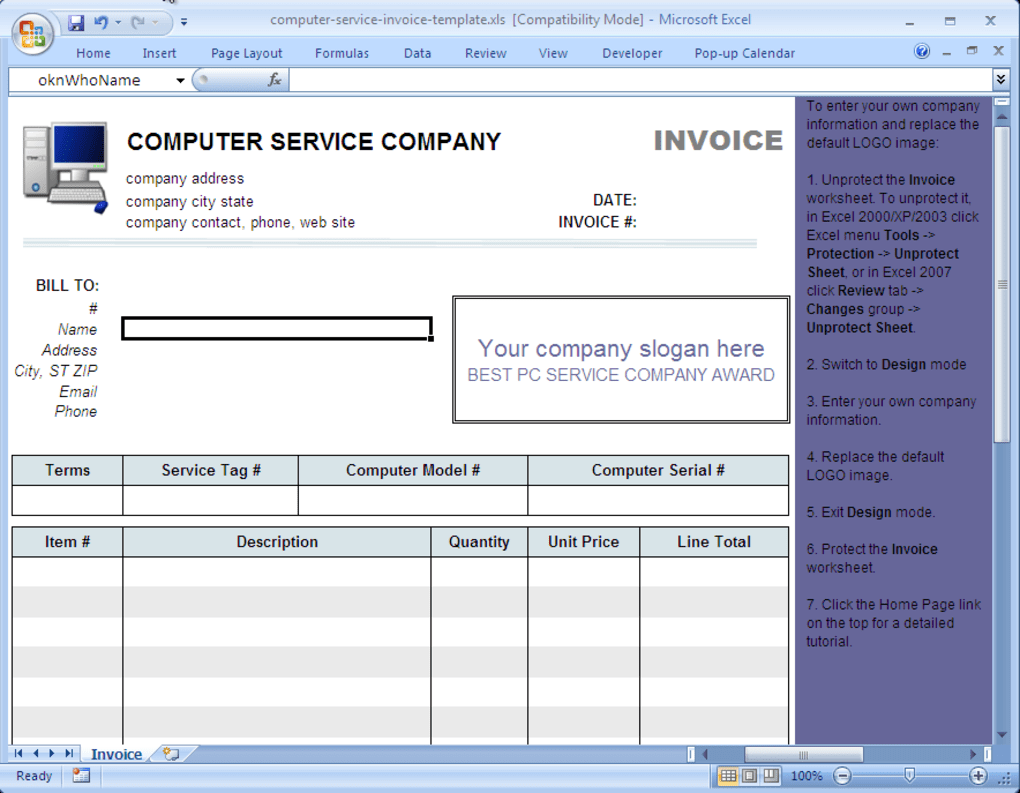 Computer Service Invoice Template Download