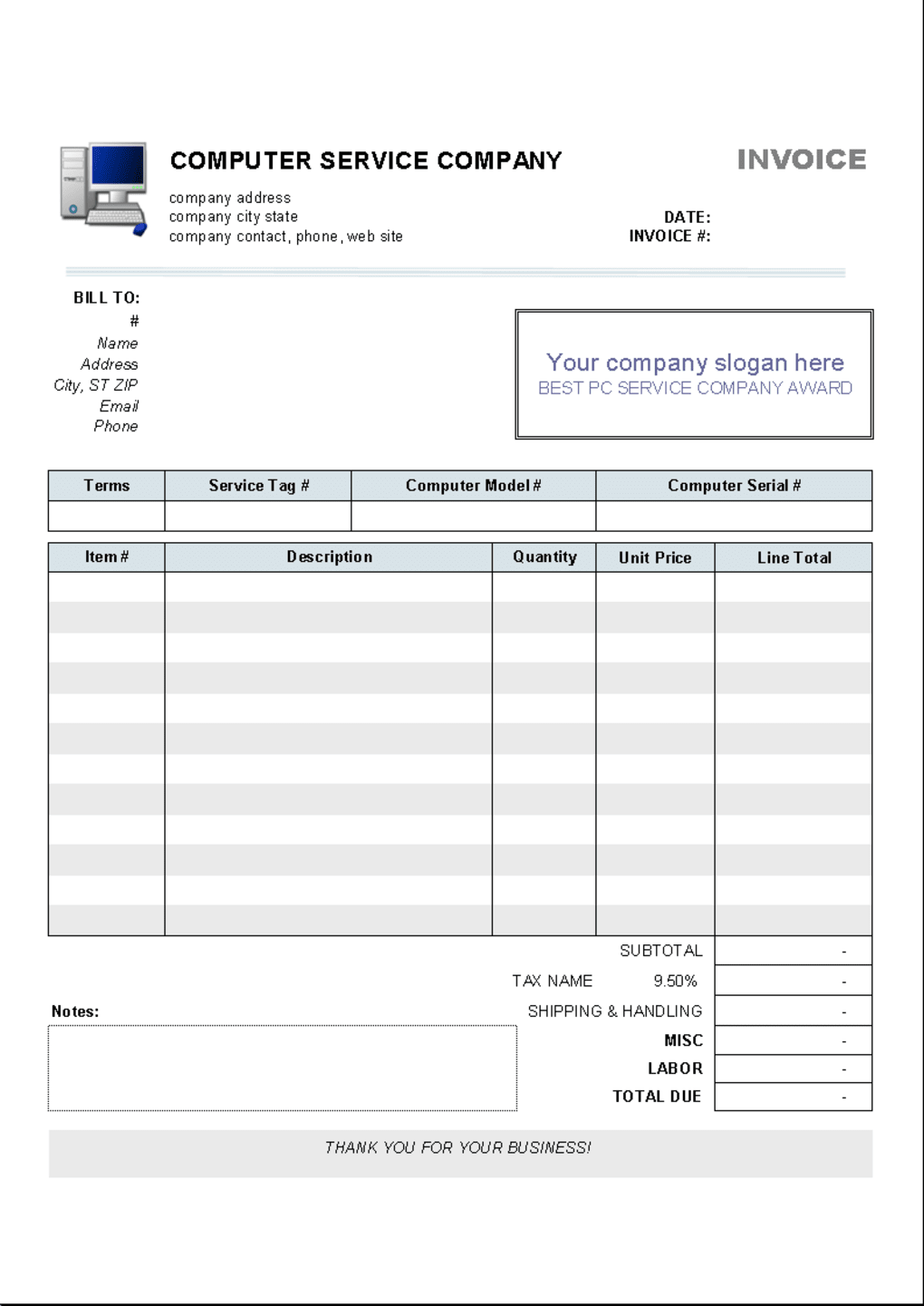 Computer service invoice template download computer service invoice template 12 screenshots fbccfo Images