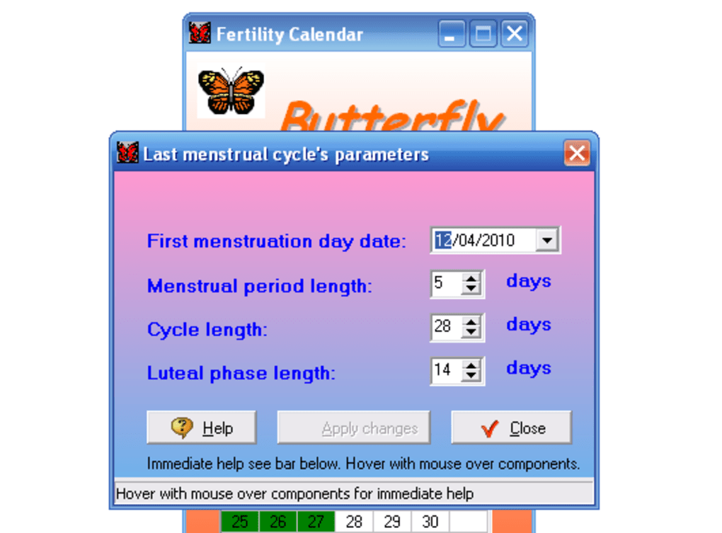Calendario Fertil.Butterfly Descargar