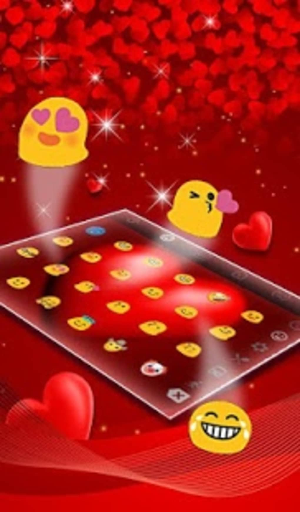 Live Floating Love Heart Valentine Keyboard Theme for