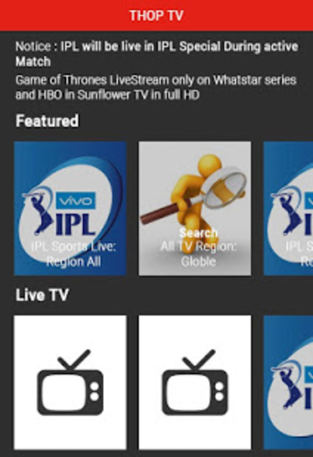 THOP TV - Free HD Live TV Guide for Android - Download