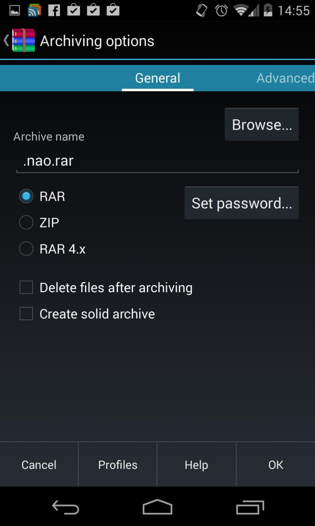 application android pour ouvrir fichier rar