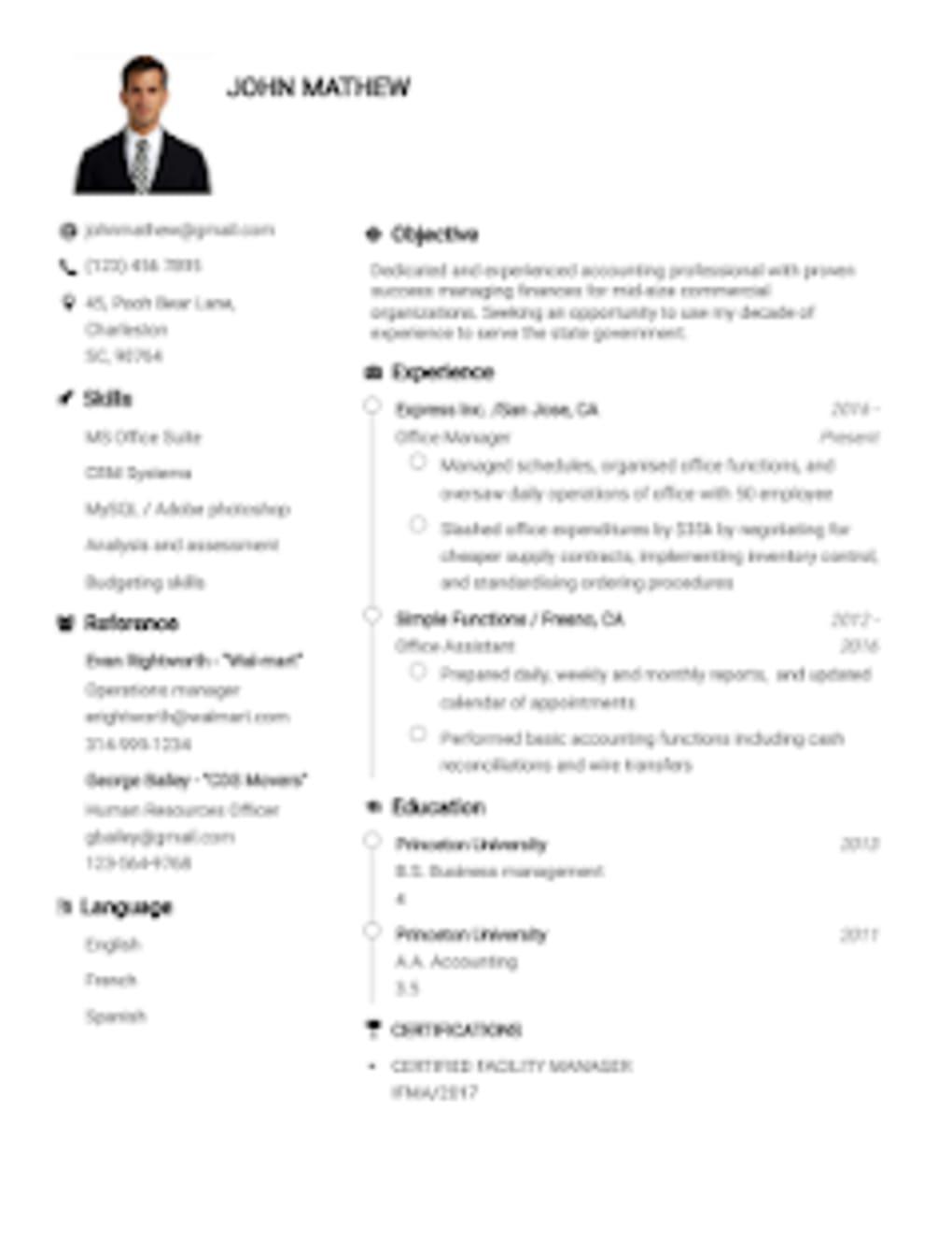 Resume Builder App Free CV Maker Templates 2019