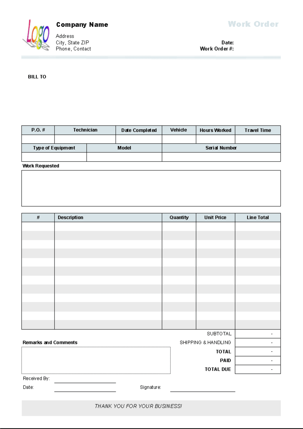Work Order Template - Descargar