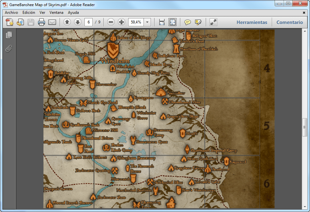 photo relating to Printable Skyrim Map named Skyrim Map - Down load
