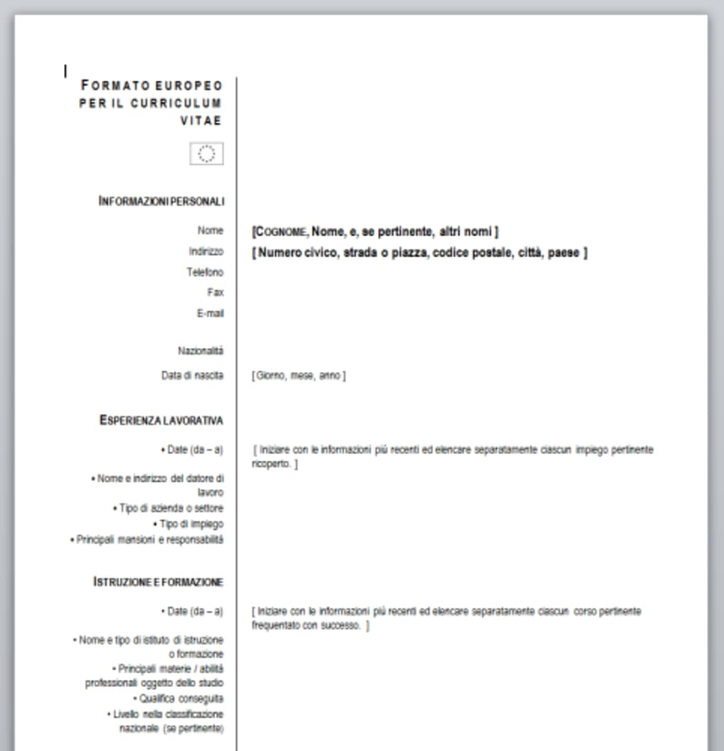 Download Curriculum Vitae Formato Europeo Word Firmakoek