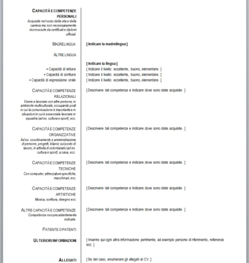 curriculum vitae europeo da compilare in wordpad