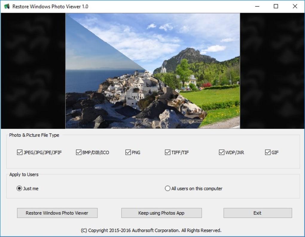 Restore Windows Photo Viewer to Windows 10 (Windows) - Download
