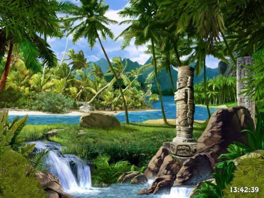 Waterfalls And Ancient Gods Screensaver Download