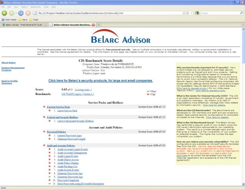 the belarc advisor