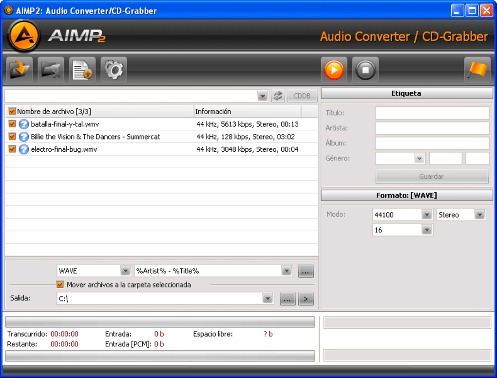 convertidor de audio aimp2