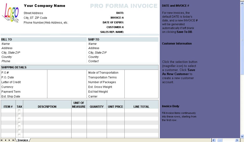 Free Proforma Invoice Template Download - International proforma invoice template for service business