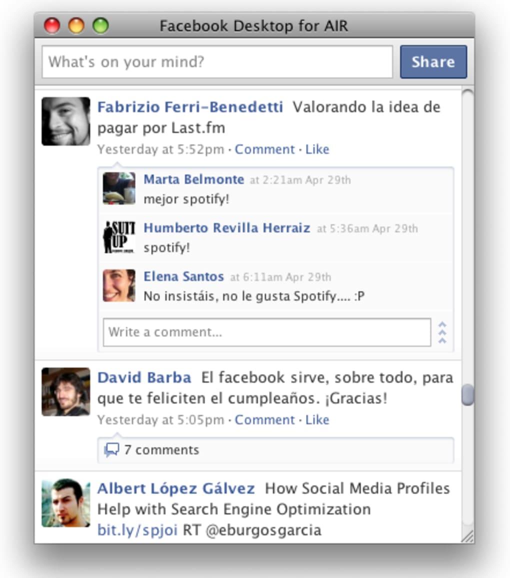 descargar facebook en español para macbook air