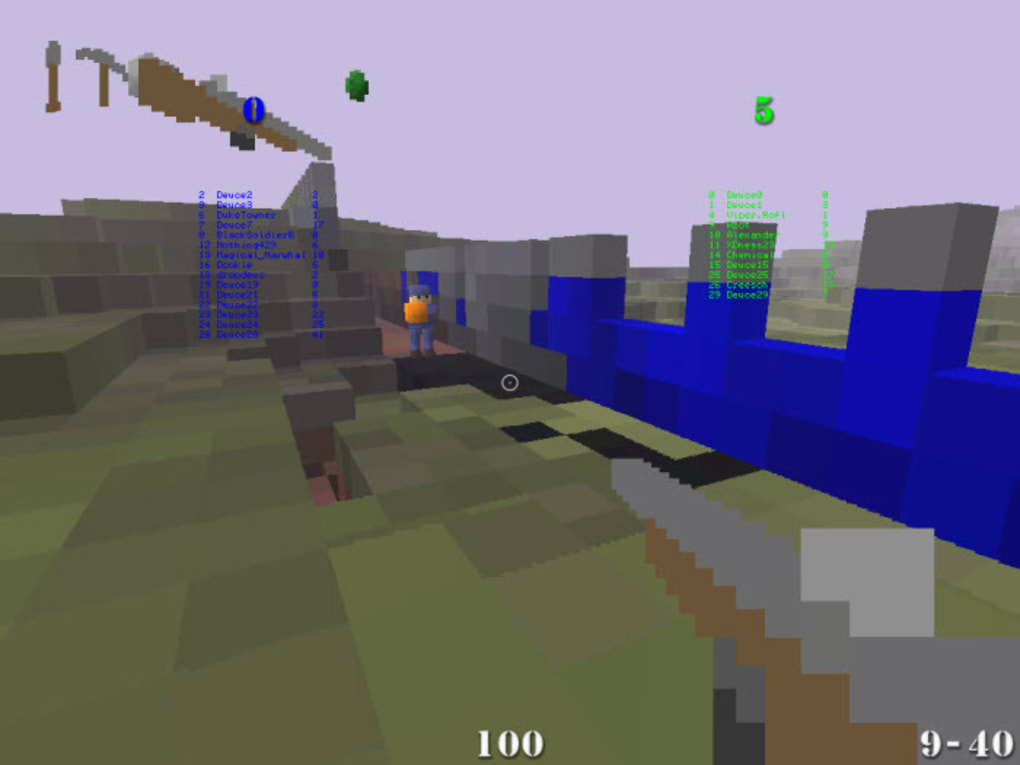 Battlefield meets Minecraft. FPS shooter with online multiplayer action in a sandbox world.