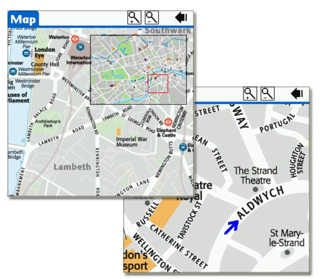 London DK Eyewitness Top 10 Travel Guide & Map for Palm OS