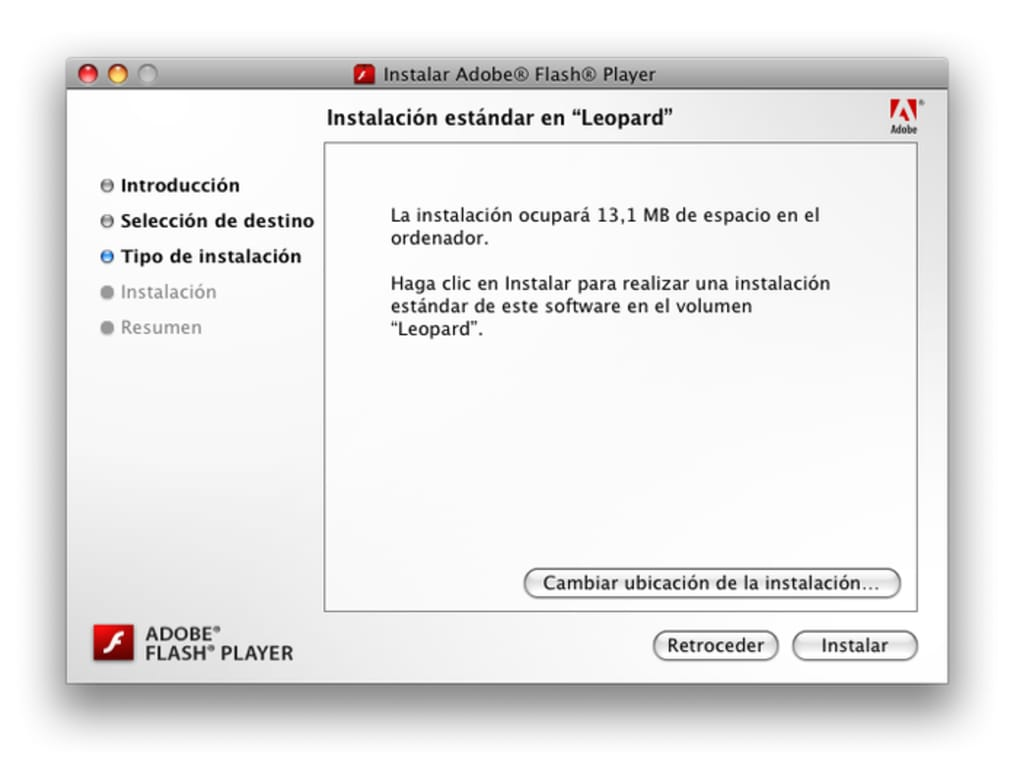 adobe flash player mac os x 10.5.8