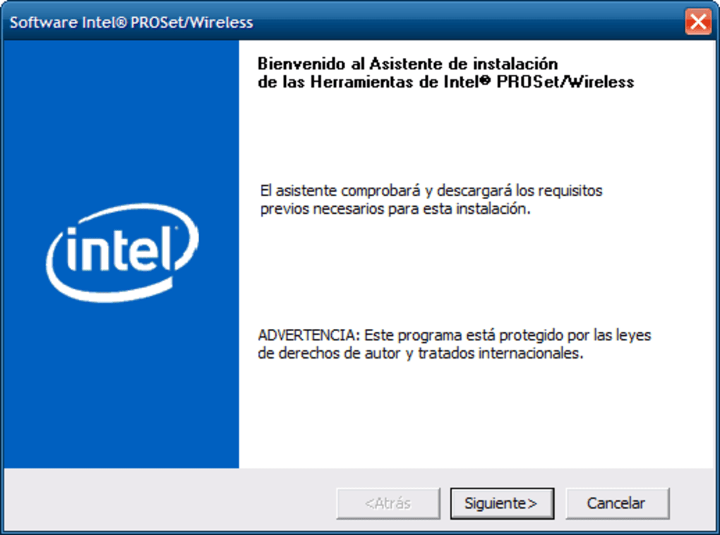Intel proset/wireless download.