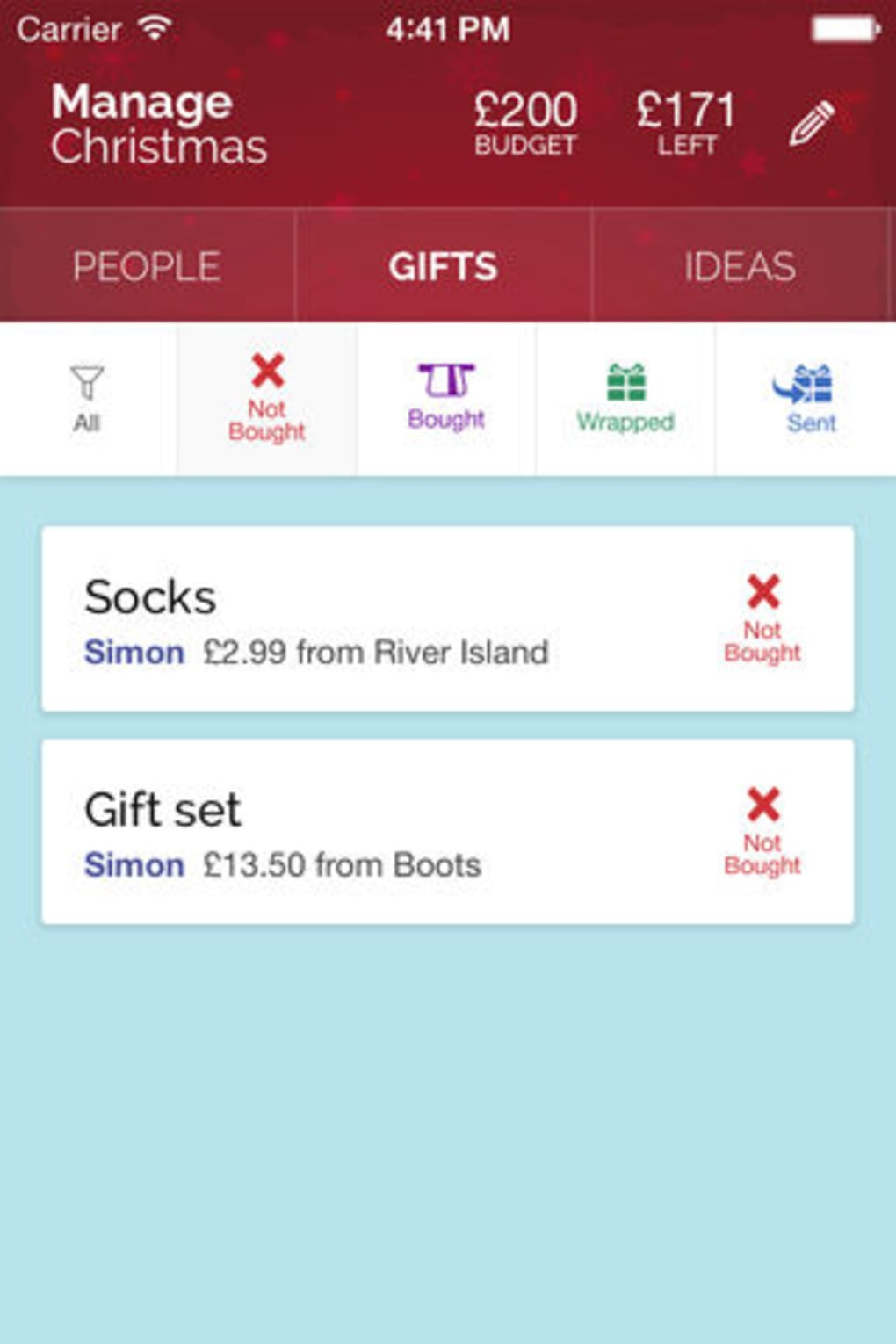 Manage Christmas - Christmas Gift List Manager for iPhone - Download