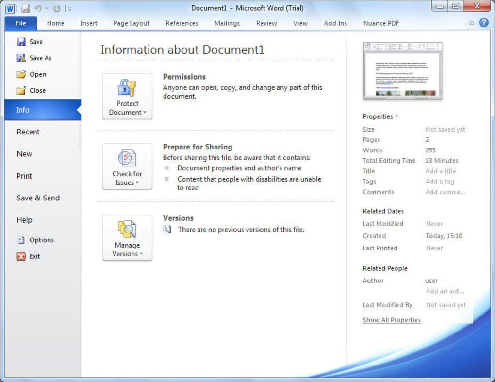word 2010 free trial for mac