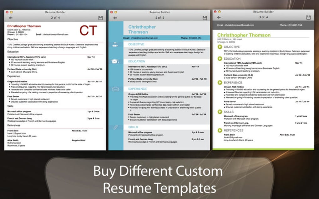 resume builder for mac