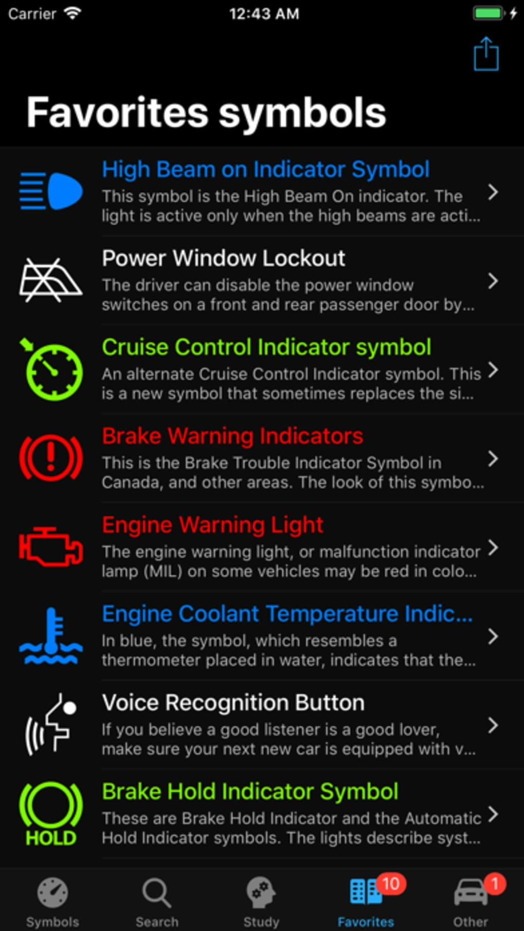 Car Dashboard Symbols for iPhone - Download