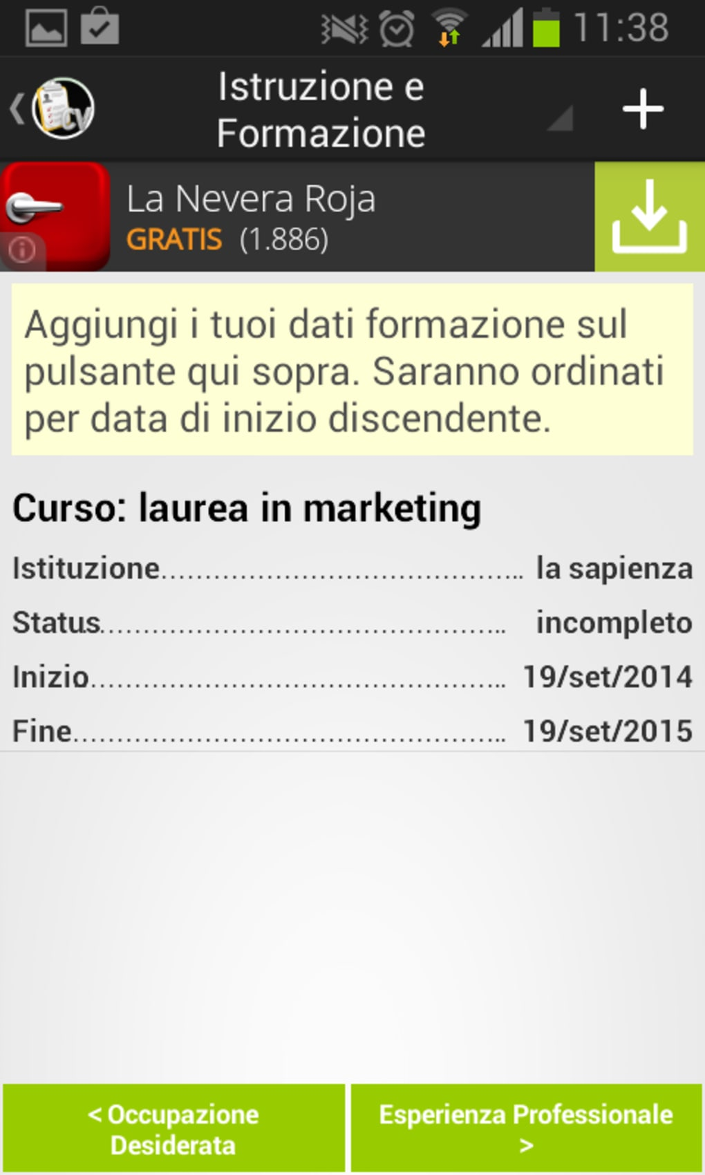 Il Mio Curriculum Vitae Per Android Download