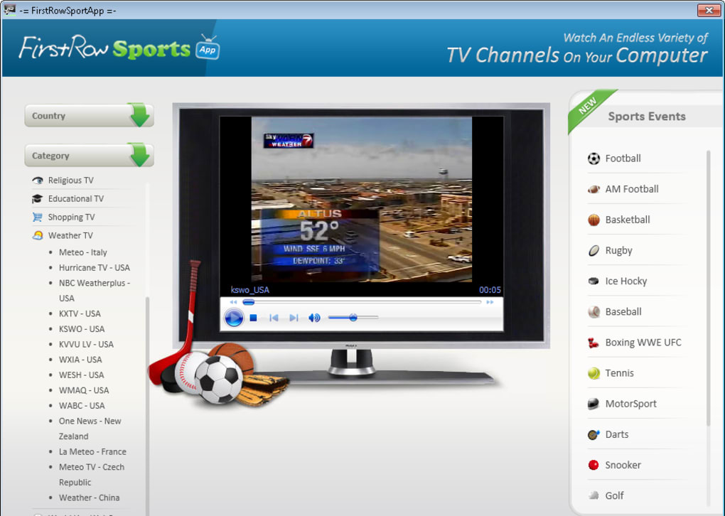 first row free live sports streams on your p