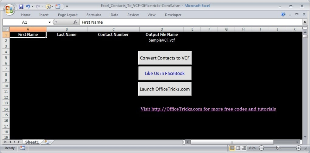 Excel To VCard Converter - Download