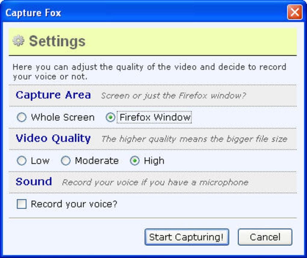 Capture fox download.