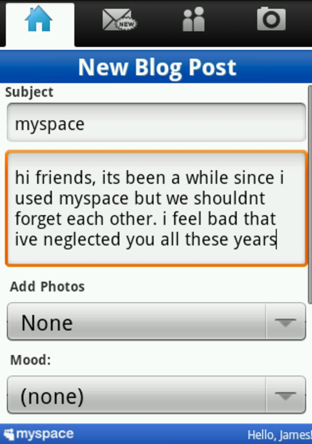 Myspace application