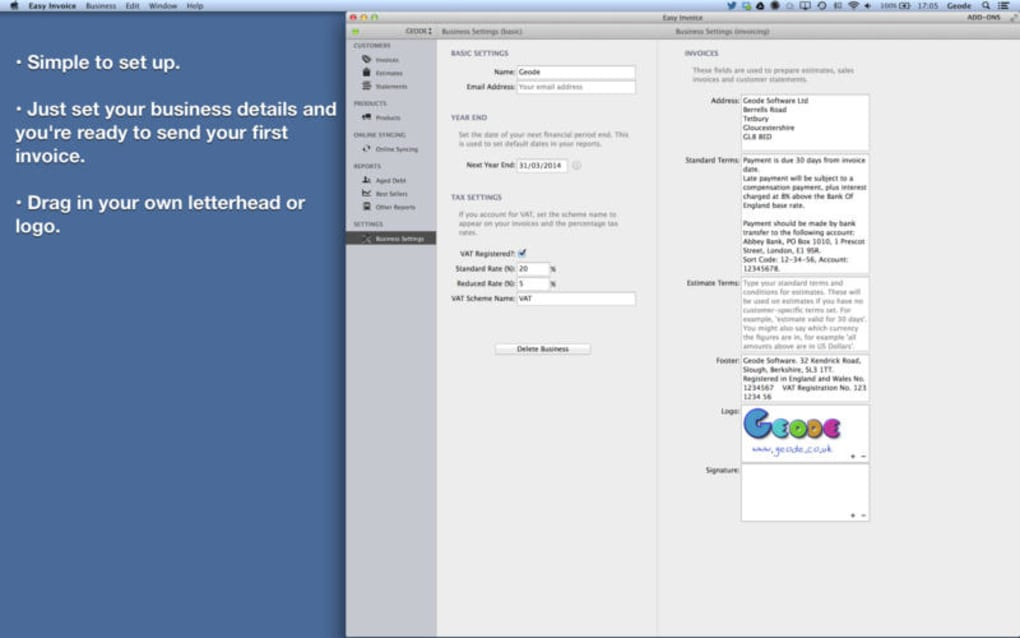 Easy Invoice - PDF invoice generator for Mac - Download
