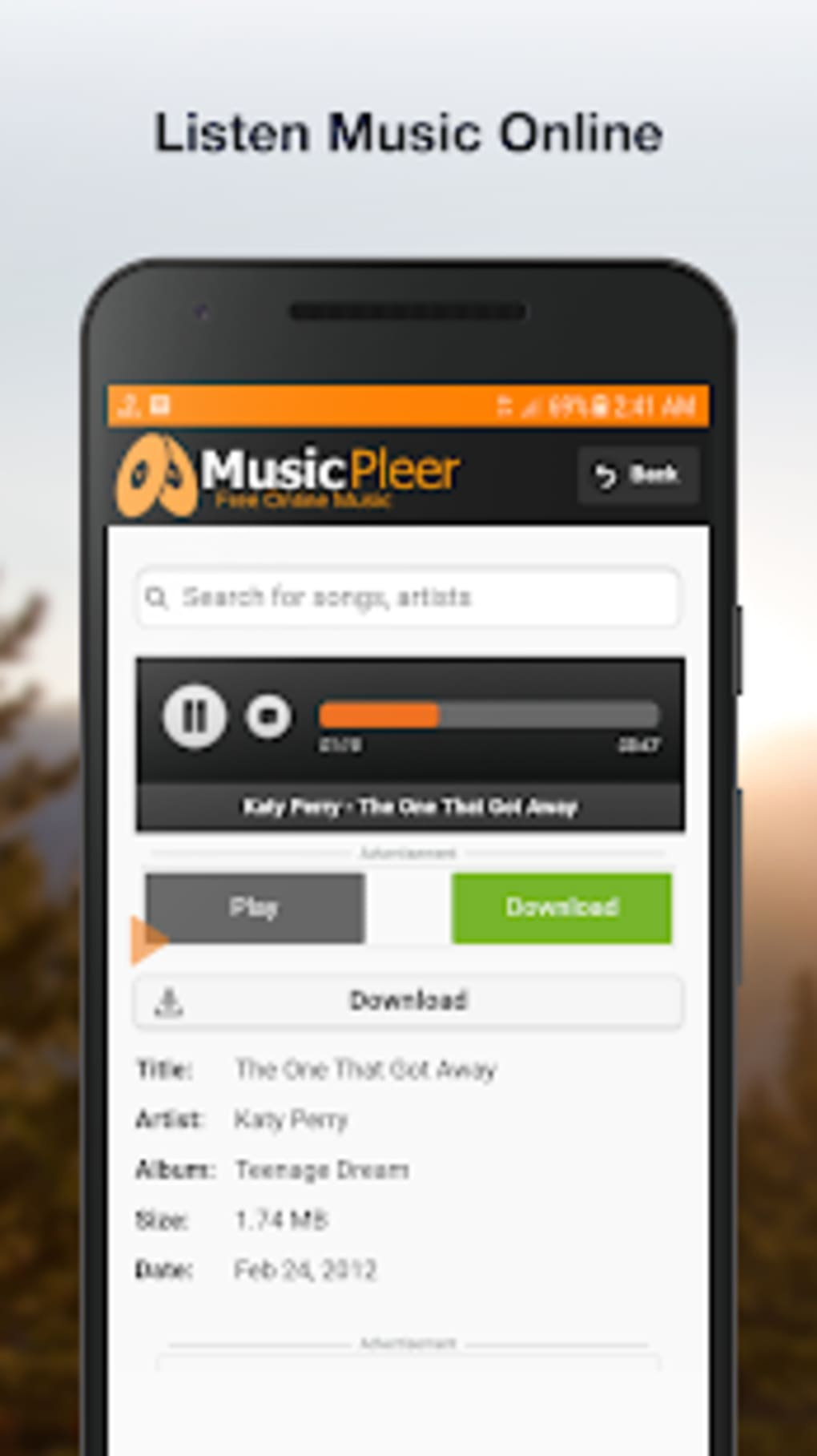Listen music online for free without downloading.