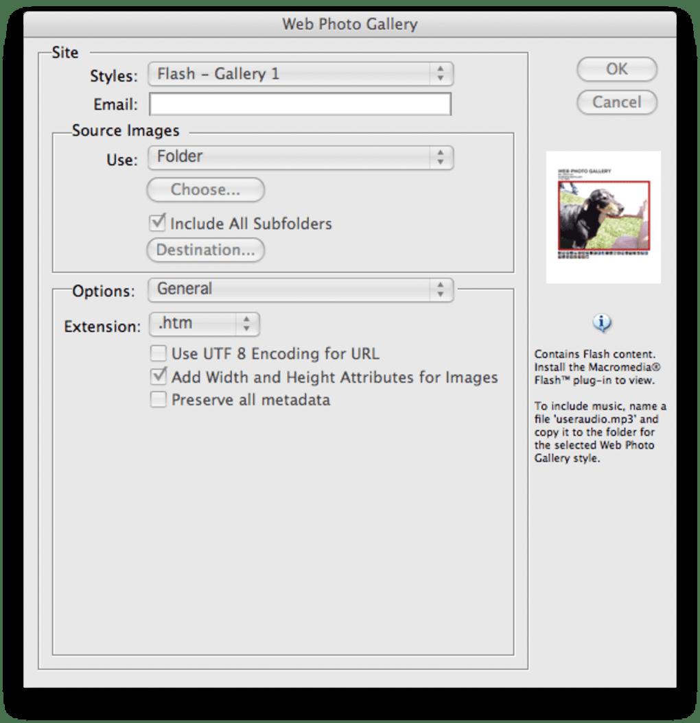 Adobe Photoshop CS2 Flash Web Photo Gallery templates for