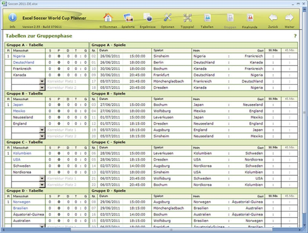 Excel Soccer World Cup Planner Download