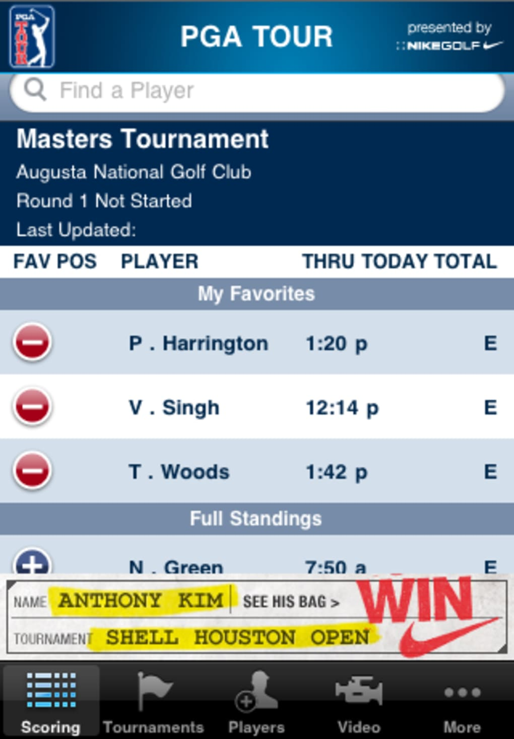 pga tour for iphone