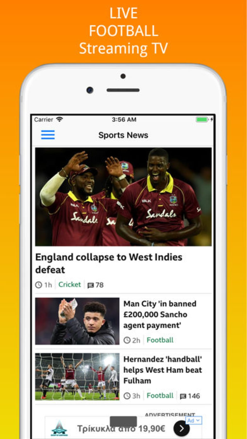 watch live football streaming free iphone