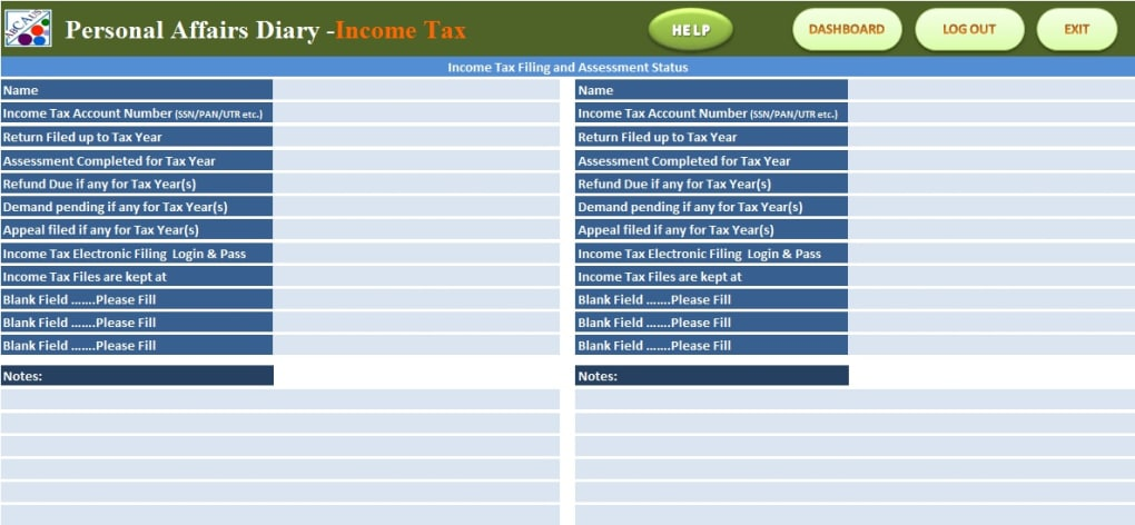 ABCAUS Excel Personal Affairs Diary - Download