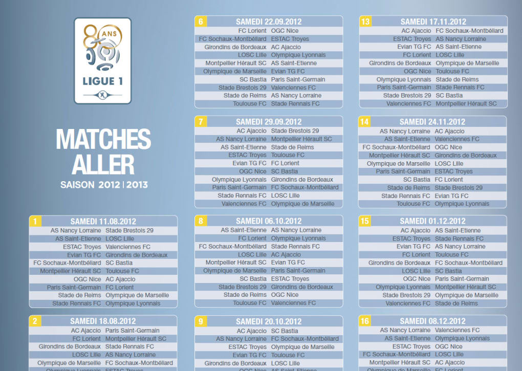 Foot Calendrier Ligue 1.Calendrier Ligue 1 2012 2013 Telecharger